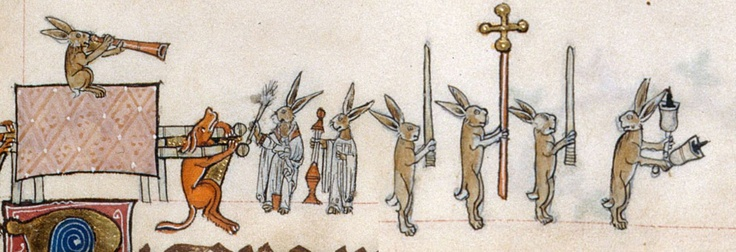 Yo diría que hasta auténticos cofrades...  British Library, Add 49622, f. 133r. The Gorleston Psalter. 1310-1324.  http://demonagerie.tumblr.com/post/33390813792/british-library-add-49622-f-133r-the-gorleston