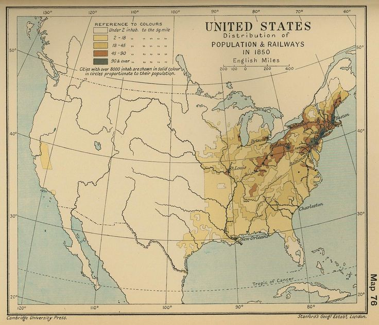 Map Of The United States Population 1850