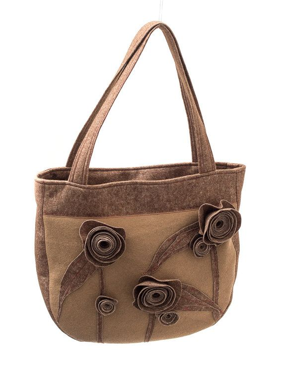 FELT BAG  Brown armbag / handbag with flowers Handmade by Anardeko