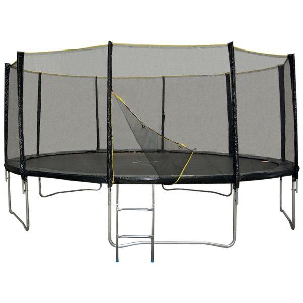 trampoline cm noir avec filet de protection et son echelle sport jardin trampolineenfant