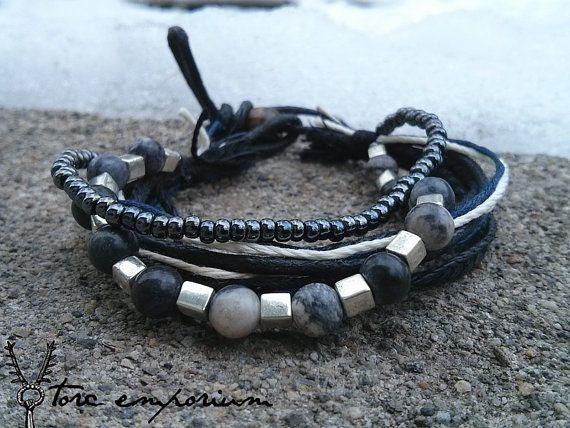 Men's Bracelet  Dark Ice  Fiber Stone Glass Wood