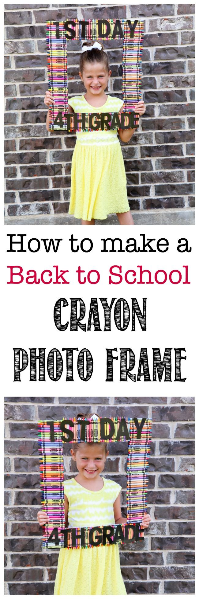 How to make a Back to School Crayon Photo Frame for the first day of school.  via @amodernmomlife