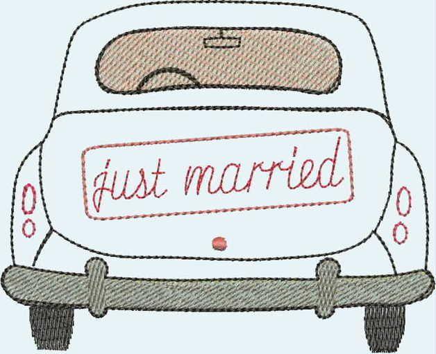 """Stickdatei """"KEINE fertige Stickerei!!!"""" ♥ """"Just married"""" ♥ Hochzeitsauto mit einem Schild """"just married"""". Wunderbar geeignet um Kissen oder Flaschenhussen oder Alben zu verzieren! Unten am Auto..."""