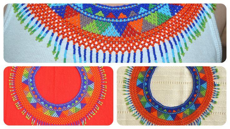 Collar artesanal Mexicano con material en Chaquira. Arte Huichol. $ 48.00 Cascading rainbow womens necklace handmade of glass seed beads. Huichol Art. $ 48.00