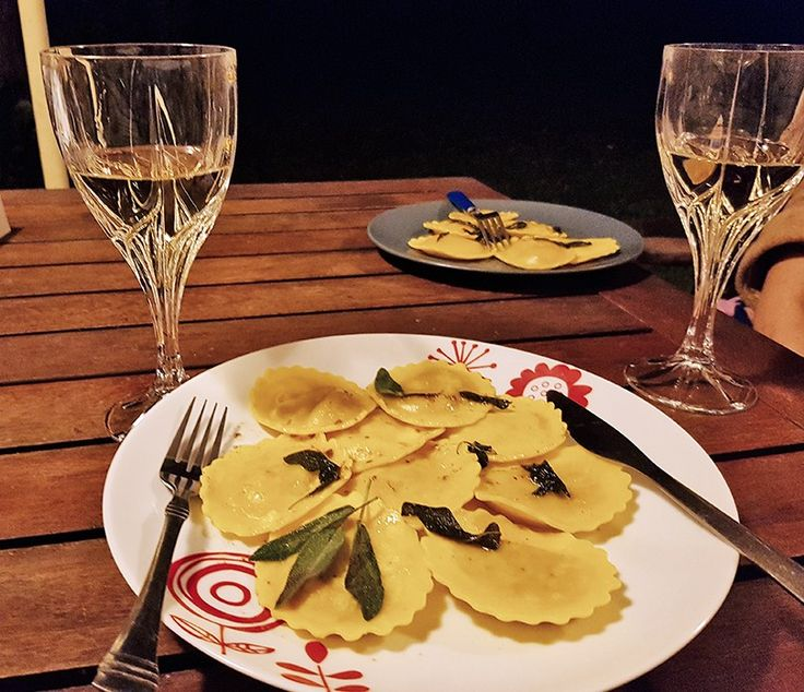 Pinnaroo Partners Reserve Chardonnay 2013 with pumpkin and leek cappelletti