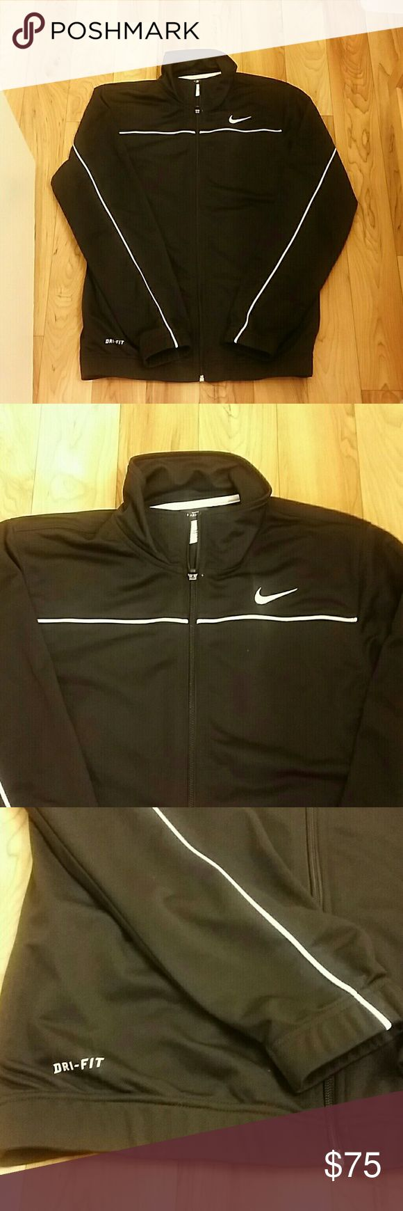 Nike Zip Up EUC Nike zip up. 2 pockets on the side, white line across chest area. Stretchy band around bottom. Size small in men's, will fit Medium in women's. Nike Tops Sweatshirts & Hoodies
