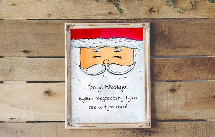 Plakat świąteczny dla dzieci za darmo do druku - Mikołaj  Free christmas poster for kids - Santa Claus