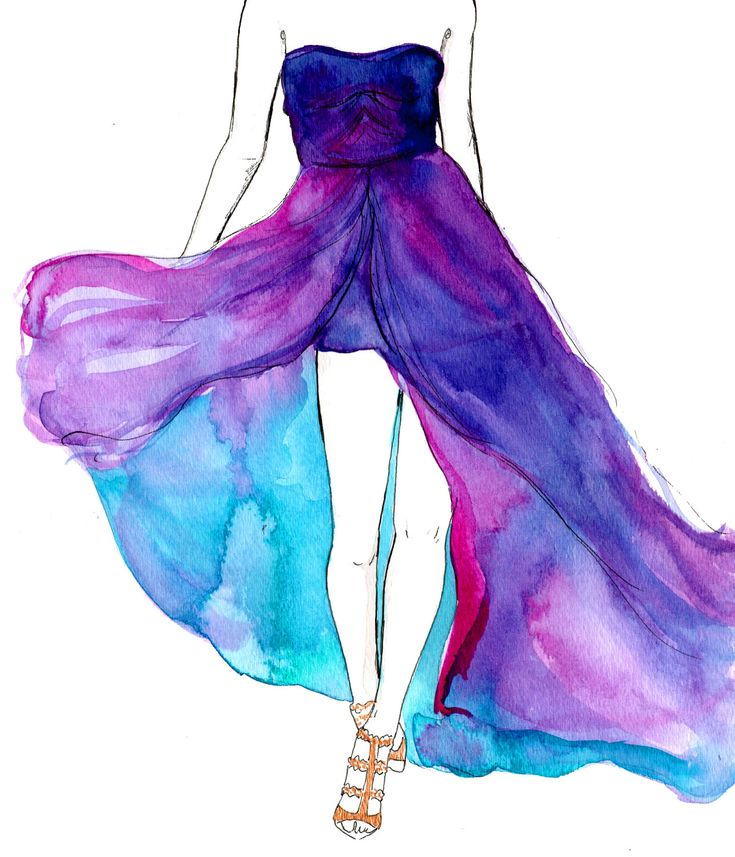 Original Watercolor and pen fashion illustration by Jessica Durrant titled, Dreamy Dress