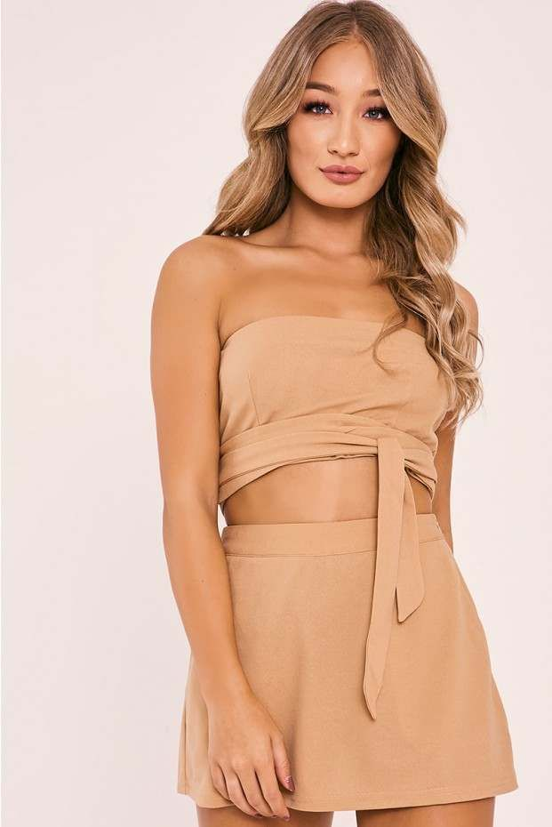 KILLISA CAMEL BANDEAU TOP | In The Style