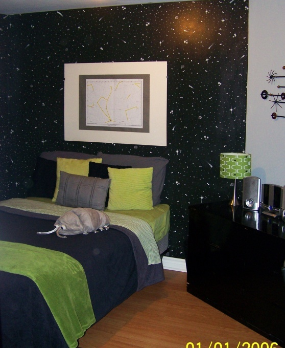 ECO Outer Space Room-love the constellation above bed