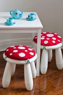 """You can get the """"Mammut"""" stools at Ikea for really cheap. Just add your own cushion to the top to make darling toadstools!"""