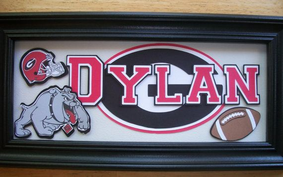 Sports name sign georgia bulldogs bedroom home by for Georgia bulldog bedroom ideas
