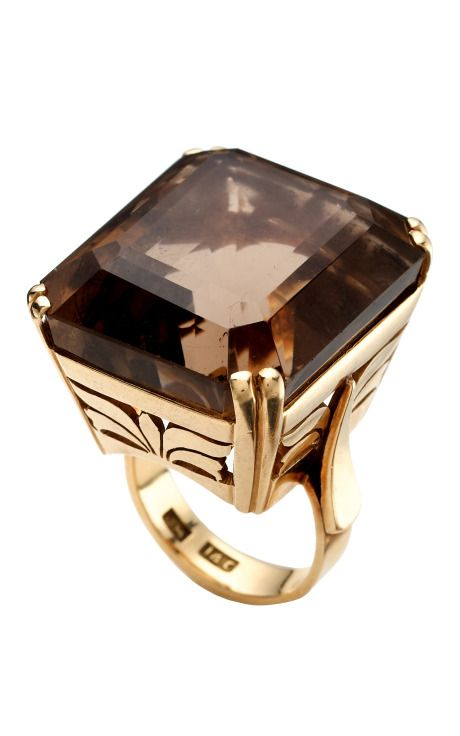 Camilla Dietz Bergeron Vintage Jewelry - Smoky Quartz ring. I adore this setting, though the stone size is a little over the top.
