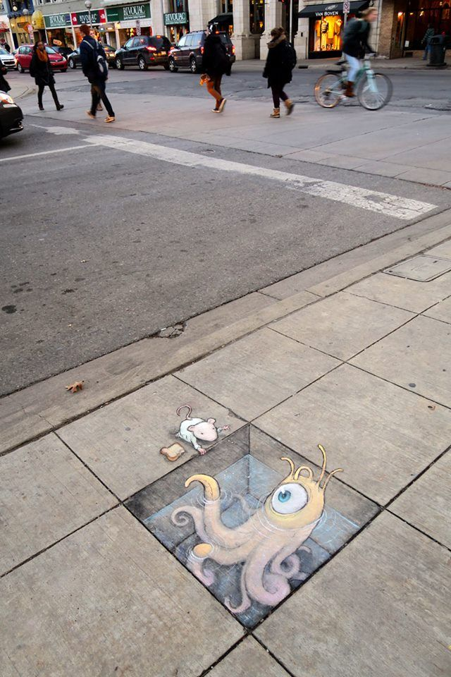Best D Chalk Art Images On Pinterest D Street Art D - David zinns 3d chalk art adorably creative
