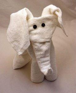 Слон из полотенец в технике оригами