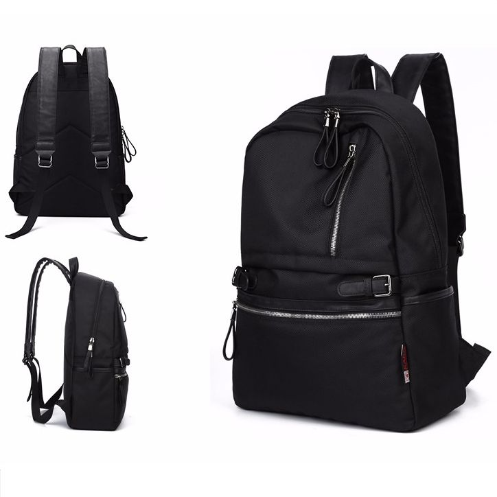 Korean Style Fashion Men Waterproof Nylon School Laptop Backpack Black