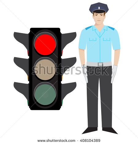 vector policeman showing stop gesture. red traffic light. - stock vector