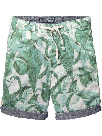 Scotch Shrunk Reversible Palm Print Shorts