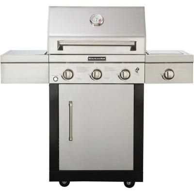 KitchenAid 3-Burner Propane Gas Grill with Side Burner and Grill Cover-720-0787D - The Home Depot