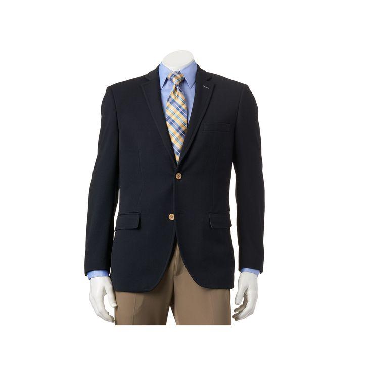 Men's Savile Row Modern-Fit Navy (Blue) Knit Travel Blazer, Size: 46 - regular