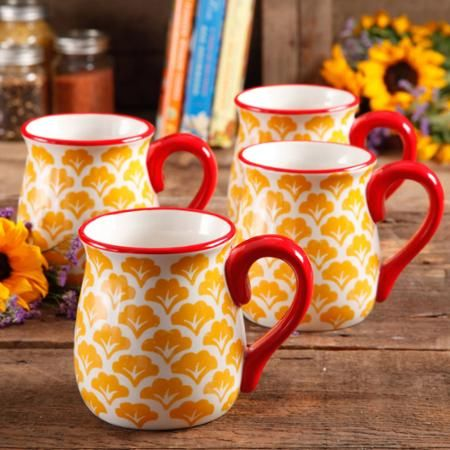 The Pioneer Woman Flea Market 18 oz Decorated Belly Mugs, Yellow & Red, Set of 4 - Walmart.com