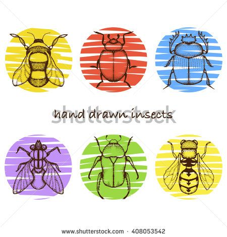 Vector doodle #insects with colored circles. #pointillism