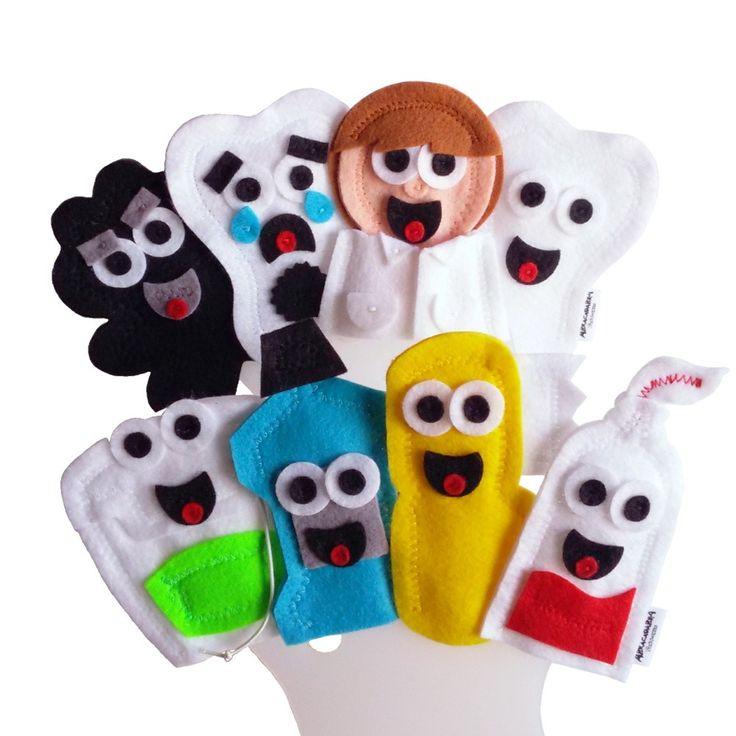 Dedoches Higiene Bucal - Dentista    ITENS: 8 DEDOCHES: Dente saudável, Dente cariado, Bactéria, Pasta, Escova, Fio dental, Flúor e Dentista. Valor referente ao kit com as 8 personagens.    DIMENSÕES: 5 x 8 cm, em média, cada.  MODELO: Fantoche de dedo / Dedoche.  MATERIAL: Feltro, cordão elástic...