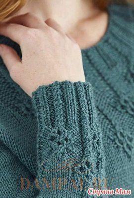 """Женский вязаный пуловер отличается своей неброской элегантностью. Рисунок из ромбов украшает горловину и рукава. Описание пуловера от дизайнера Emma Vining переведено из журнала """"The Knitter""""."""