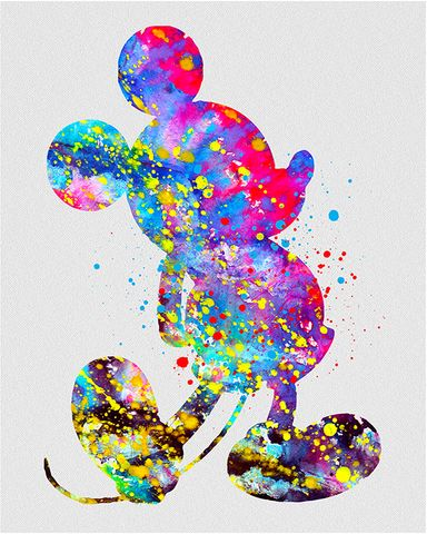 Wall art to go with Disney pics and souvenirs. Mickey Mouse Watercolor Art VIVIDEDITIONS