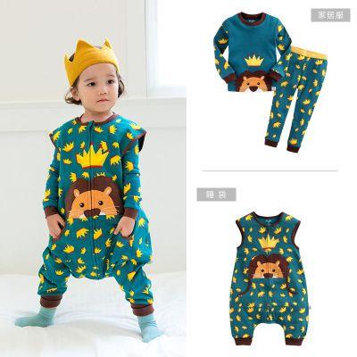 vaenait韩版秋冬新款儿童防踢被纯棉睡袋童装长袖套装三件套
