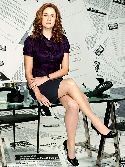 Jenna Fischer I look at this, where rather than being Jenna Fischer here, this is Pam Beesly and I'm amazed because I feel like as beautiful as she is here (I'd LOVE to be that pretty) She's really at about 50% of how beautiful she can be.  You see in pics from when she is out and about just how gorgeous she is and yet in the early seasons of the show you couls also see just how plain and kinda 'mousy' (yet still pretty, Jim fell in love with her like that) she could be.  Amazes me.