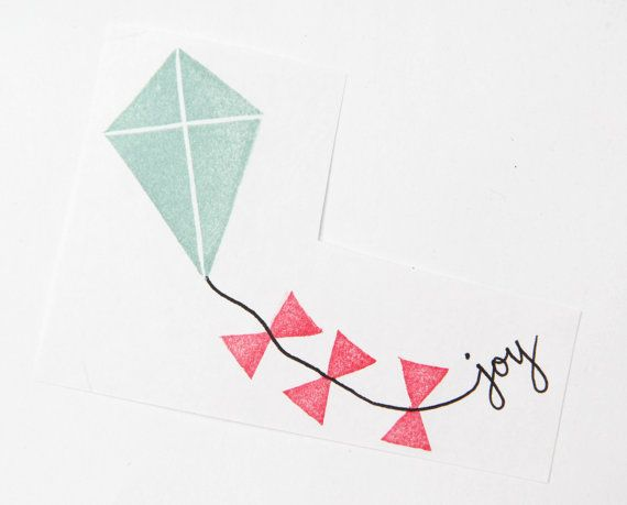 Joyful Flying Kite Hand Carved Rubber Stamp door hugfishandorange