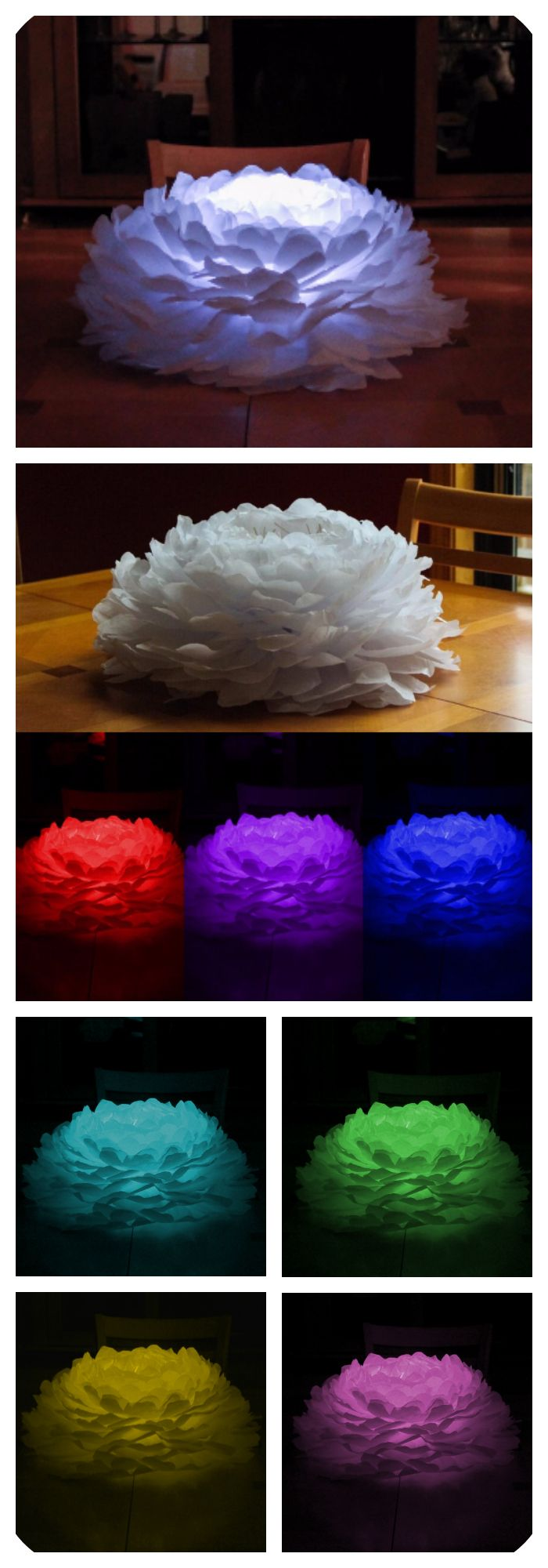 "Light up paper flower.  Beautiful centerpiece for weddings and events.  Each 20"" flower is capable of providing multiple colors using a remote controlled LED light.  This piece creates the perfect uplight for any occasion."