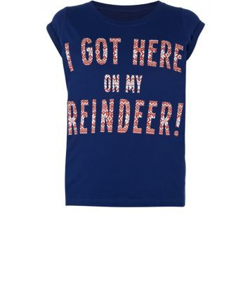 Teens. Add some character to this seasons festive looks with this slogan reindeer tee.- Simple short sleeves- Classic crew neckline- Soft cotton blend- Fairisle lettering