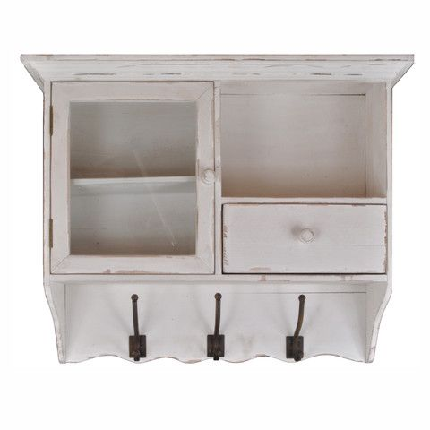 Distressed Wood Wall Cupboard With Shelves Drawer & Hooks – lightaccents.com