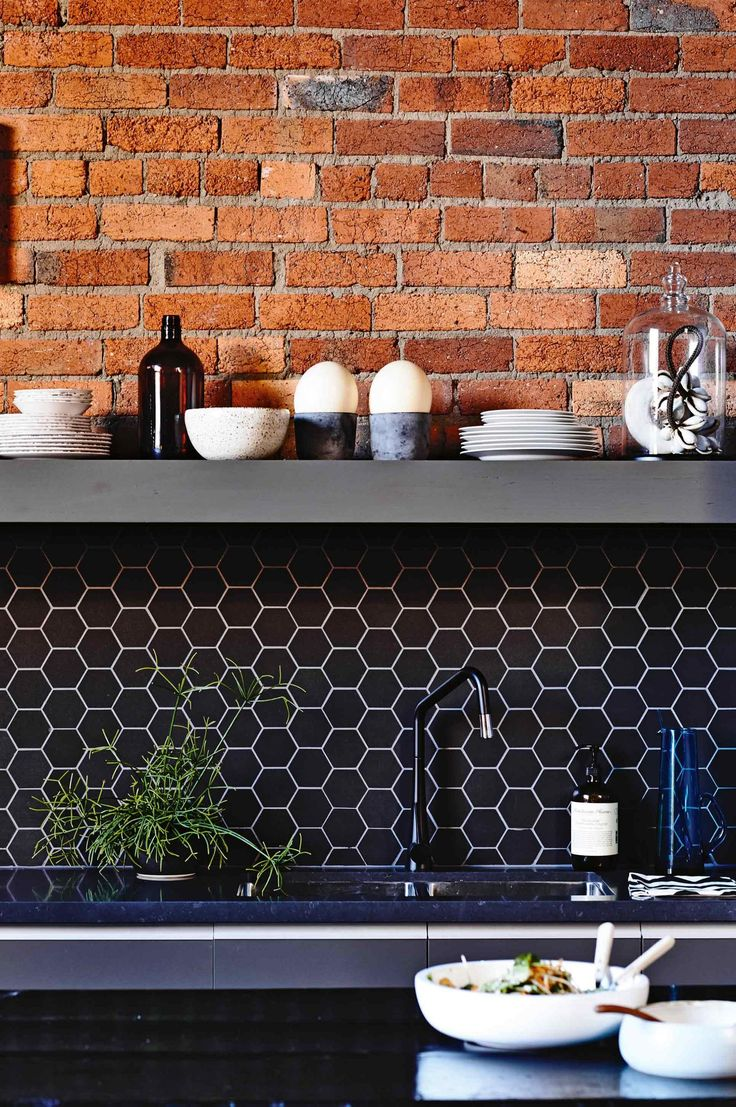 Exposed Brick Black Hexagon Tile Splashback Kitchen Mar15