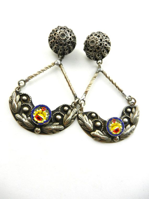 Grand Tour antique 800 silver earrings  with by RAKcreations