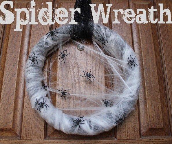 so doing thisneed a halloween wreathsuper easy cheap spider wreath using spider webbing and a diy foam insulation wreath