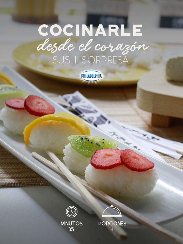 Todo es más delicioso cuando cocinas con el corazón. #receta #sushi #frutas #comida #cena #romántica#queso #quesocrema #quesophiladelphia