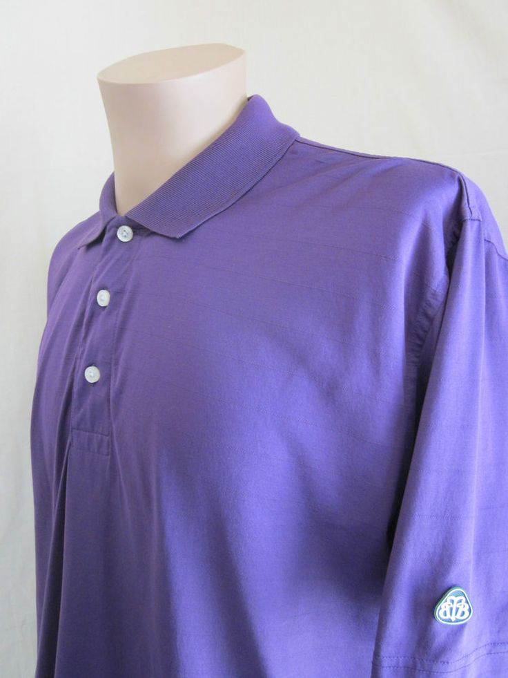 BROOKS BROTHERS Country Club GOLF Performance Knit Purple Polo Shirt L Large #BrooksBrothers