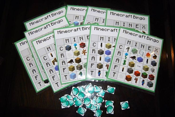 Minecraft party activity - bingo! This site has free printable cards: http://lifewithsqueaker.blogspot.ca/2013/09/the-upside.html?m=1