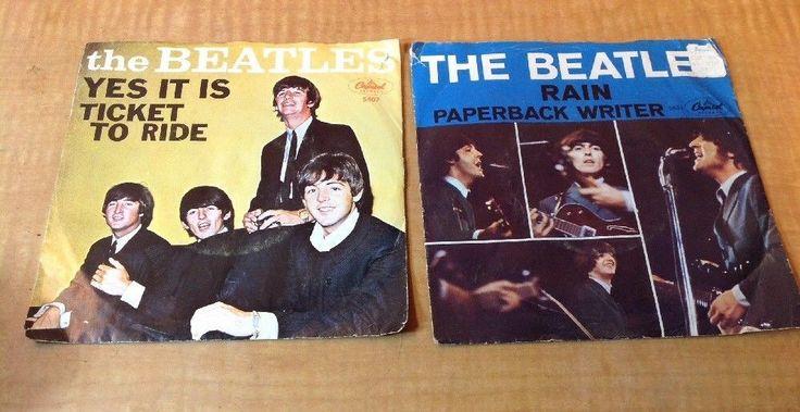 2 The Beatles 45 Records - Ticket to Ride, Capitol 5407 & Rain, Paperback 5651 #BritishInvasionBritpop