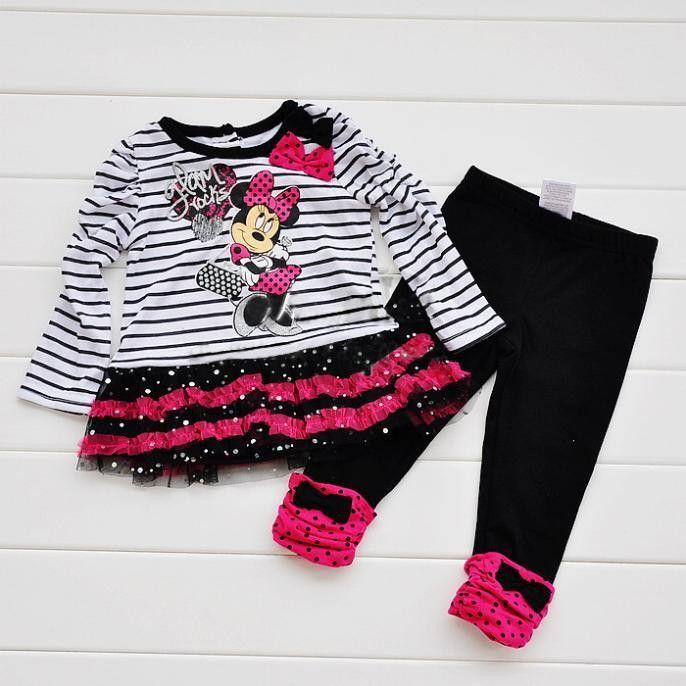 Розничная New Kids Минни бар Детский костюм рубашка + брюки 2 шт. набор девушки полосатый костюм мешок мультфильм Минни лук блестками завеса костюм
