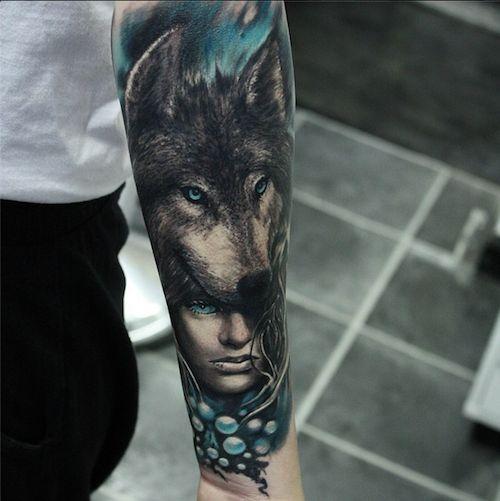 The texture in the wolf's fur is amazing by Piotr Cwiek #InkedMagazine #wolf