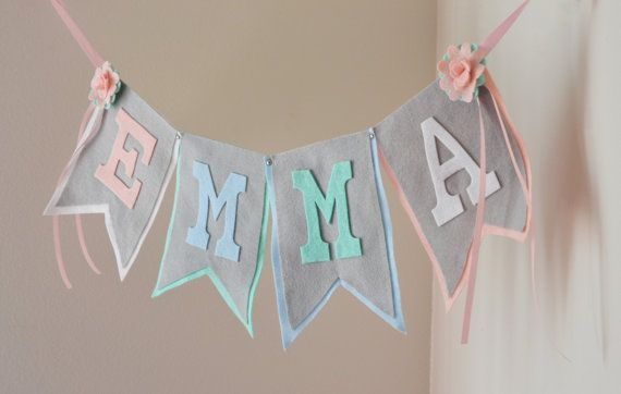Pastel Tea Party Theme Felt Name Banner with by StringDearieStudio