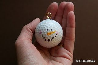 Cute and easy craft for Christmas!:  Easy way to use up those 100 old golf balls from 100 Day.