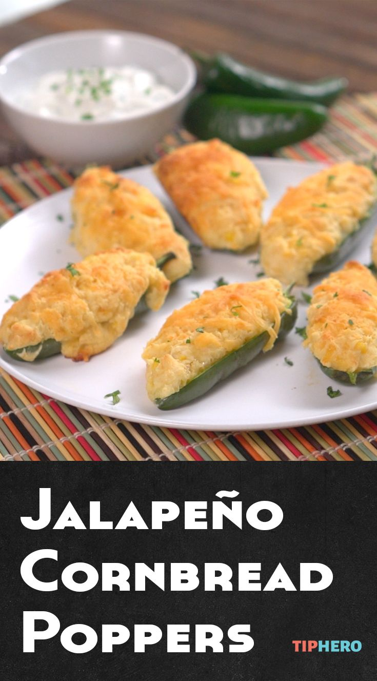 Jalapeño Cornbread Poppers Recipe | Jalapeños and cornbread in one delicious app! Easy to make, delicious, and guaranteed to be the hit of your next party. Click for recipe and how to video.  #appetizers #partyfood #goodeats #spicy