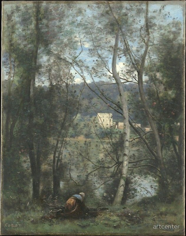 Camille Corot A Woman Gathering Faggots At Ville Davray Poster