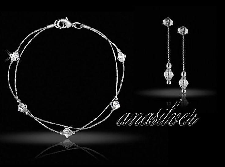 komplet biżuteria slubna z kryształami SWAROVSKI