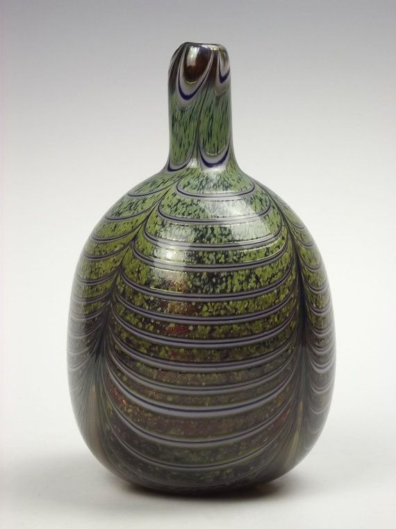 Nuutajarvi glass vase by Oiva Toikka by artofglass2012 on Etsy